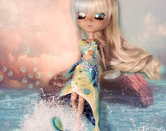 OOAK - Yellow and Blue Mermaid Outfit for Pullip