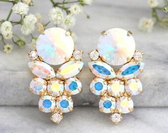 Christmas gift, Aurora Borealis Earrings, Bridal Earrings, Bridal Cluster Earrings, Bridesmaids Earrings, Gift For Her, Bridesmaids Earrings