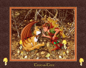 fairy art print. Fairy and cat wall decor. This cat and fairy illustration is called Tete-a-tete