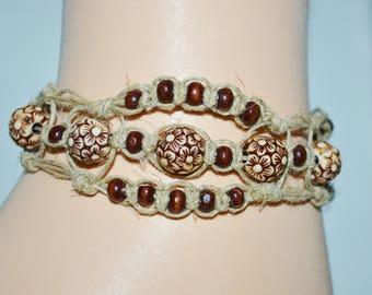 Ankle Bracelet Hemp & Wood Beads, Hemp Anklet, Wood Bead Anklet, Hemp Anklet, Flower Hemp Anklet,Flower Bead Hippie Anklet, Boho Anklet