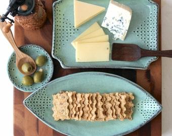 Teardrop Platter with Dot Design - Aqua Mist - Contemporary Dinnerware Home Decor - MADE TO ORDER