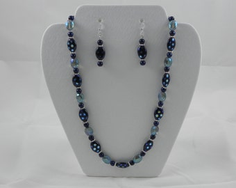 Blue glass beaded necklace and earring set