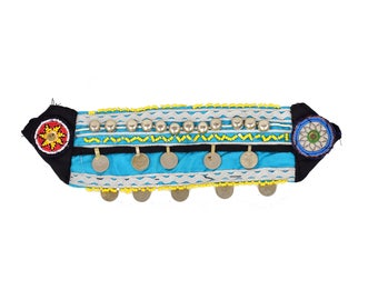 Vintage Kuchi Patch Afghan Tribal Beaded Dress / Kutchi Medallion / 18