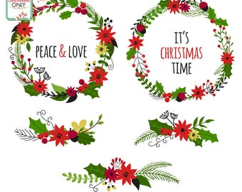Christmas Wreath / DIGITAL DOWNLOAD / Christmas images / Vector File /  Scrapbook images / Graphic Design  / Christmas Clip Art