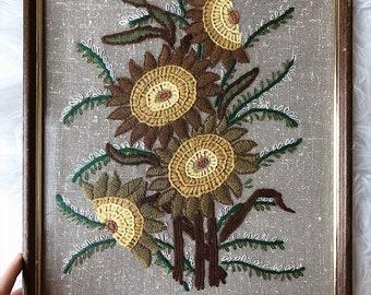 vintage 1970s flower embroidery framed art