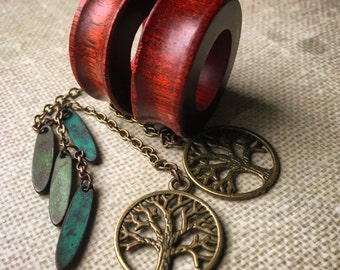 """Magnetic Tunnels with Tree of Life Dangles-Sizes1"""" (25mm),1 1/16""""(28mm),  1/8""""(30mm),1 1/4""""(32mm), 1 3/8""""(35mm)& 1 1/2""""(38mm)Wood Gauges/Ear"""