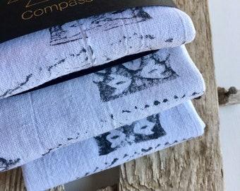 Hand stamped flour sack tea towels. DESIGN No.2