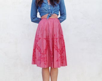 Vintage 60's Country Prairie Skirt / Red Gingham Embroidered Folk Midi / Women XS