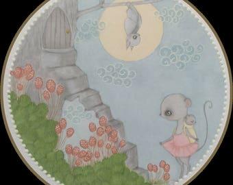 Original art magic stairway lowbrow fantasy art