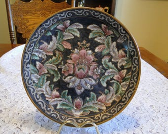 Decorative Enamel Floral Plate, Colorful Flower Plaque, Wall Hanging Art, Collector Plate