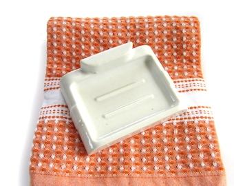 Vintage Porcelain Deco Wall Mount Soap Dish / Vintage Porcelain Soap Dish Wall Mounted / Retro Bathroom Accessories.