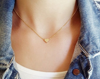 Heart necklace, gold necklace, love necklace, gift jewelry