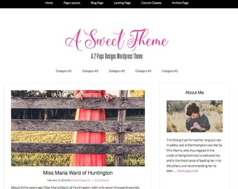 Black and Pink Blog Theme, Wordpress Theme, Genesis Child Theme, Wordpress Template