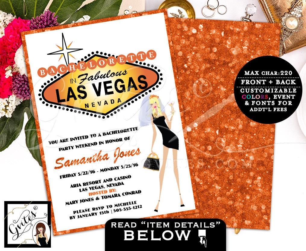 Las Vegas Invitation, vegas wedding, bachelorette party invitations ...