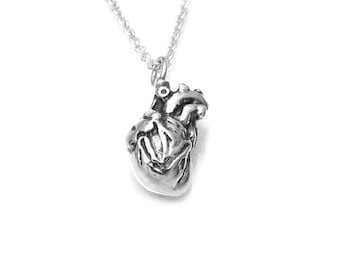 Sterling Silver Small 3D Anatomical Heart Necklace, Anatomy Jewelry