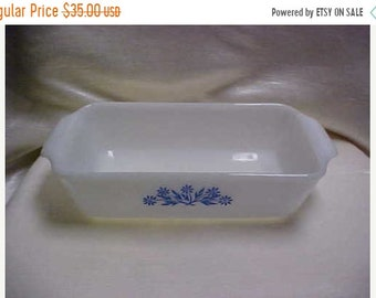 Spring Sale Vintage  1960's Fire King Oven Ware Anchor Hocking White Glass Baking Dish Blue Flowers