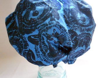Shower Cap - Raccoon Trash Panda Sapphire Blue Novelty - Retro Rockabilly Bath and Beauty Hat
