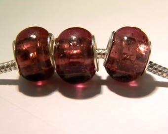 2 charm European - lampwork - 14 x 10 mm glass bead - translucent purple - D34 - 10