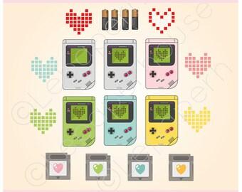 Cute Gameboy theme clipart, digital scrapbook elements - 17 Clip art, Instant Download