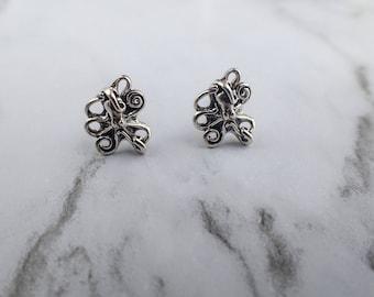 Octopus Stud Earrings, Sterling Silver Octopus earrings, Minimalistic Tiny Octopus earrings, stocking stuffers