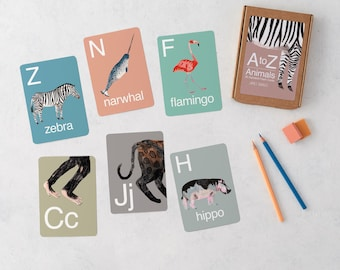 A-Z Animal Alphabet Flash Cards, ABC flash cards, Animal cards, Nursery Art, Educational, Flash card, Flash Card, Nursery Decor, Preschool