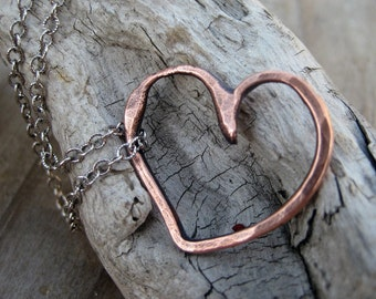 Rustic Heart Necklace Pure Copper Sterling Silver Necklace Handmade