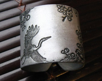 SALE Soaring Asian Crane and Floral Silver Cuff Bracelet, Handmade Jewelry by theshagbag on Etsy