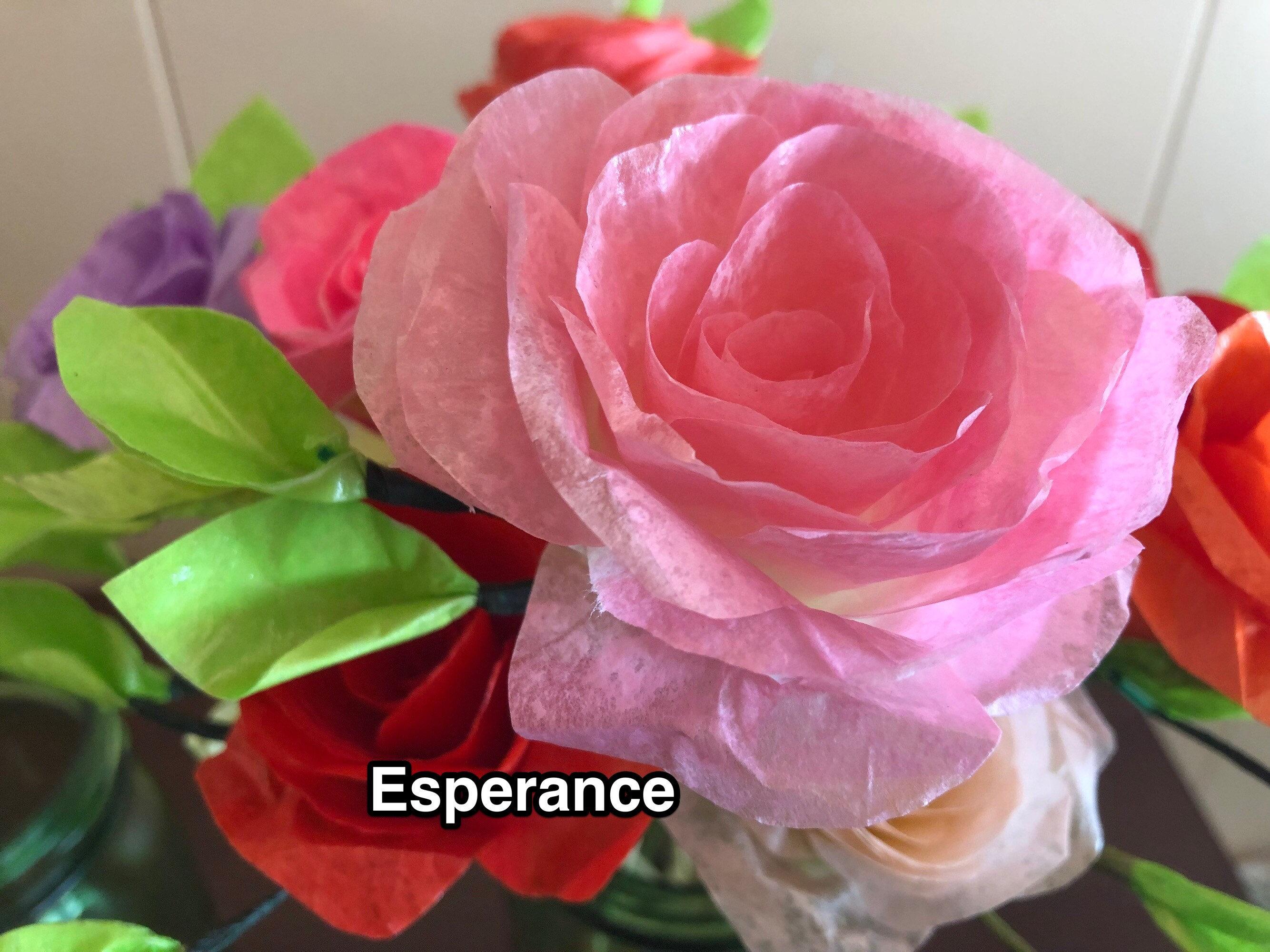 lifelike paper rose pink esperance
