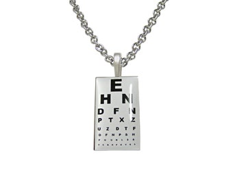 Unbordered Rectangular Optometrist Pendant Necklace