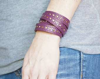 Purple Rivet Wrap Bracelet
