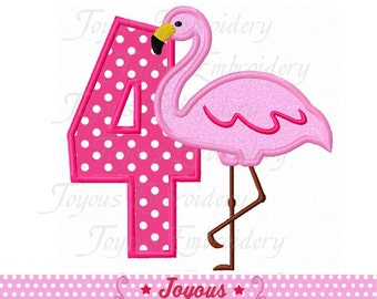 Instant Download Flamingo Number 4 Applique Machine Embroidery Design NO:2111