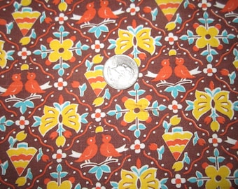 Vintage 1930s/40s Full Cotton Feedsack-Little Birds Rust and Yellow