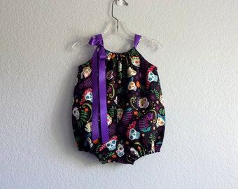 New for Baby! Day of the Dead Bubble Romper - Sugar Skulls on Black - Baby Girls Day of the Dead Sun Suit - Size Nb, 3m, 6m, 9m, 12m or 18m