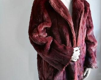Faux fur Burgundy coat. Vintage faux fur