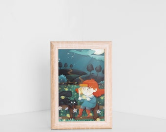 Postcard, Jade with the fireflies, cute girl illustration, perfect for the guest room, nursery or just like a gift