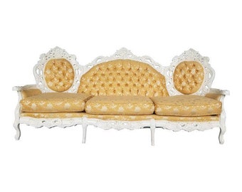 Hollywood Regency Ivory And Gold Couch   Stunning Victorian Sofa In Brocade  Floral Gold Fabric