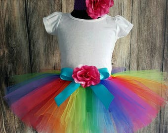 "Rainbow Tutu Skirt for Girls, Babies, Toddlers - NEW Economy Line Tutu - Imagine - 8"" Sewn Tutu - Custom SEWN Tutu - sizes Newborn up to 5T"