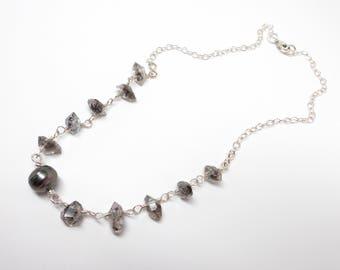 Tahitian Pearl Necklace, Herkimer Diamond Necklace, Crystal Necklace, Pearl Necklace, Herkimer Necklace, Healing Gemstones, Healing Crystals