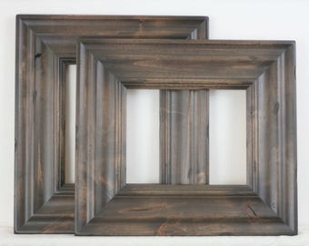 Sizes 4x4 to 8x8 Picture Frame / Knotty Alder Wood / Madera Style / With Carve