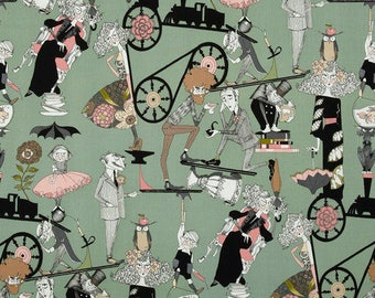The Ghastlies A Ghastlie End  Headstone Green   ~ Alexander Henry Cotton Fabric, out of print