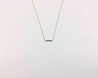 14K Gold Simple Half Bar Pendant Necklace