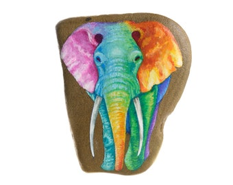 Handpainted rock to hang with an elephant