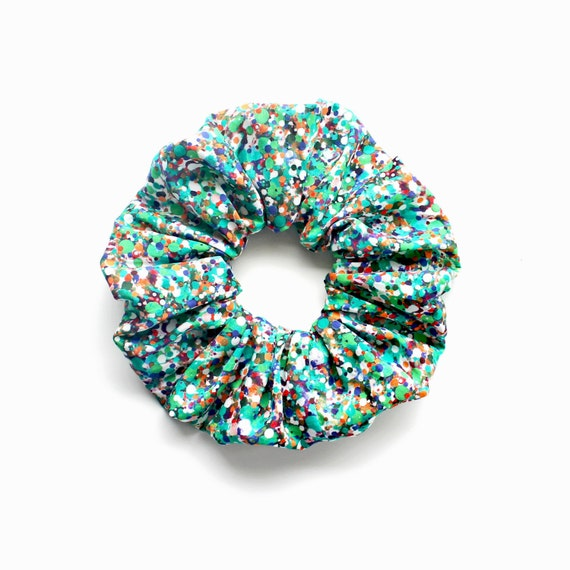 GO GREEN . Large Green Speckled Dotty Scrunchy or Scrunchie. Women Hair Accessories. Retro Accessory.