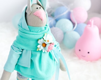Easter Bunny Toy Easter Gift Ideas Easter Gift for Girls Turquoise Bunny Nursery Decor Ideas Babyshower Gift Easter Decorations Soft Toy