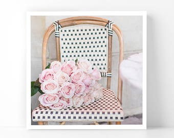 Paris Photography - Roses on a Cafe Chair, 5x5 Paris Fine Art Photograph, French Home Decor, Wall Art, Gallery Wall
