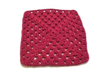 Vintage Red Crocheted Square Dish Cloth