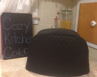 Black 2 Slice Toaster Cover Quilted Fabric Kitchen 7 Inch Tall Small Appliance Ready To Ship Next Business Day