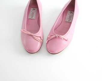 size 6.5 | Vintage Italian Leather Flats | Pink Leather Ballerina Flats | Round Toe Leather Shoes | 37