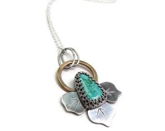 Silver Turquoise Neklace - Turquoise Pendant -  Long Layering Necklace - Genuine Turquoise Necklace - December Birthstone - Boho Pendant