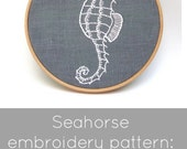 Embroidery pattern, seahorse embroidery pattern,  modern embroidery, DIY needlecraft, seahorse pattern, DIY hoop art, I Heart Stitch Art